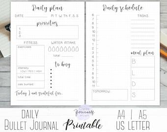 bullet journal printable daily planner bullet journal etsy