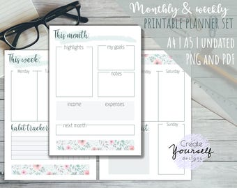 Printable weekly planner, printable monthly planner, printable planner pages, planner insert, watercolor planner pages, filofax insert