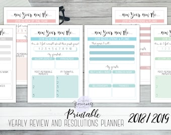 printable goal planner new years resolutions planner 2018 review printable 2019 goal planner 2019 resolutions insert year in review
