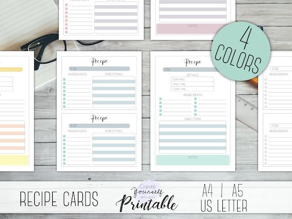 printable recipe card pastel recipe cards simple recipe etsy