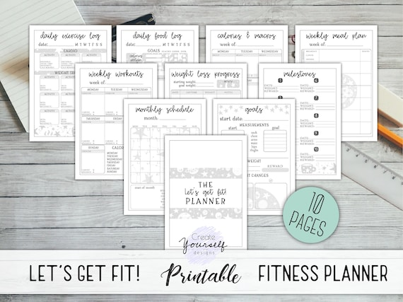 picture about Printable Calorie Tracker titled Physical fitness planner printable - body weight decline tracker, work out planner, fitness planner, dinner planner, calorie tracker, galaxy exercise planner