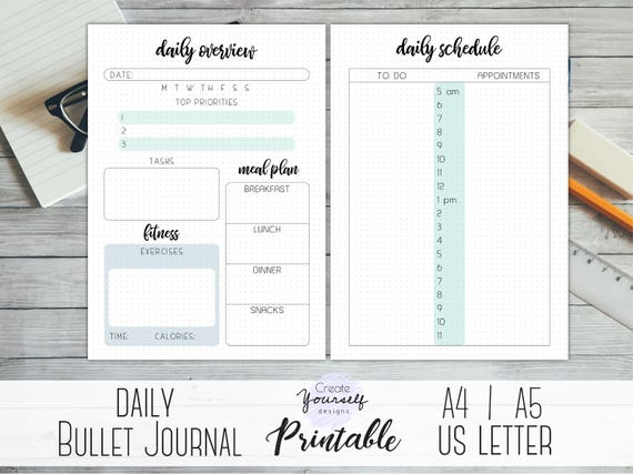 printable daily bullet journal daily log daily planner etsy