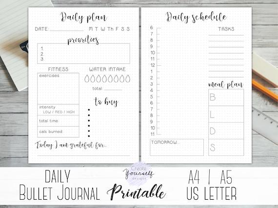 daily bullet journal printable daily planner bullet journal etsy