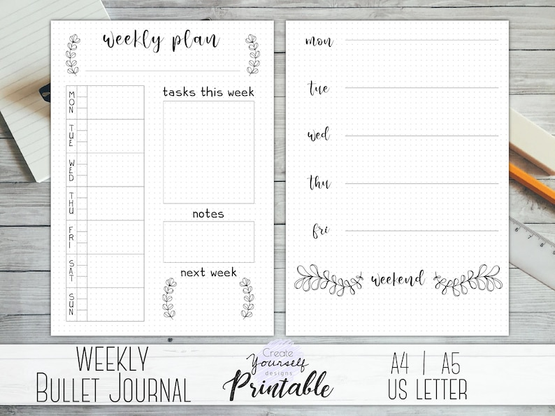 photo relating to Bullet Journal Printable Pages named Weekly bullet magazine printable - bullet magazine internet pages, weekly planner, planner include, dot grid magazine, dotted planner, pre developed magazine