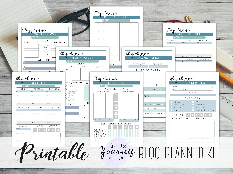 Blog planner printable - social media tracker, blog post planner, business  planner, blogging planner, marketing planner, giveaway tracker