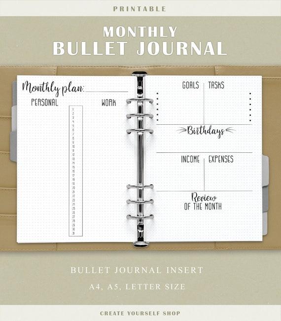 Journal Mensuel Imprimable De Balle Planificateur De Grille De Point Insert De Journal De Balle Imprimables De Bujo Page Mensuelle De