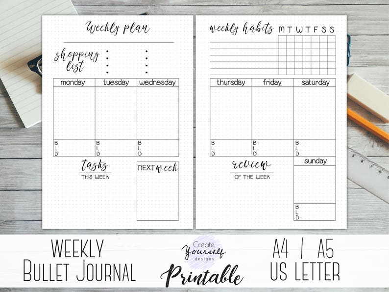 photograph about Printable Bullet Journal Pages known as Weekly bullet magazine printable - bullet magazine internet pages, weekly planner, planner increase, dot grid magazine, dotted planner, pre generated magazine