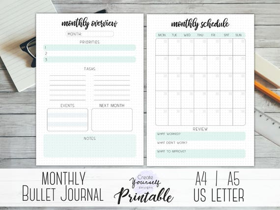 printable monthly bullet journal monthly log monthly etsy