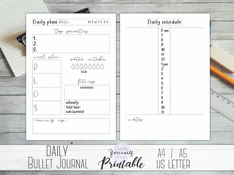 photograph regarding Bullet Journal Printable known as Bullet magazine printable - each day planner, bullet magazine add, day by day log, dot grid magazine, printable planner, A4 A5 bujo printable