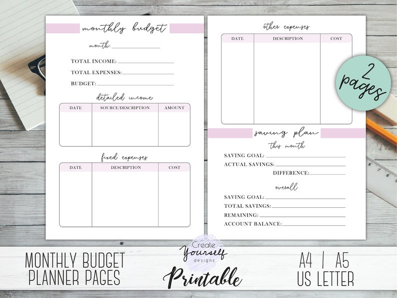 picture regarding Printable Monthly Budget Planner identified as Month to month funds planner printable - spending plan planner, cost tracker, profits tracker, funds planner, economical planner, funds building