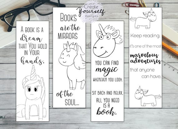 Printable Unicorn Bookmark Set Coloring