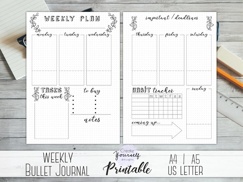 picture about Printable Bullet Journal identified as Printable bullet magazine weekly - bullet magazine web pages, weekly planner, planner incorporate, dot grid magazine, dotted planner, pre generated magazine