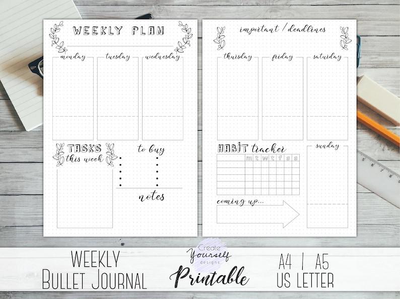 photo regarding Printable Bullet Journal identify Printable bullet magazine weekly - bullet magazine web pages, weekly planner, planner increase, dot grid magazine, dotted planner, pre designed magazine