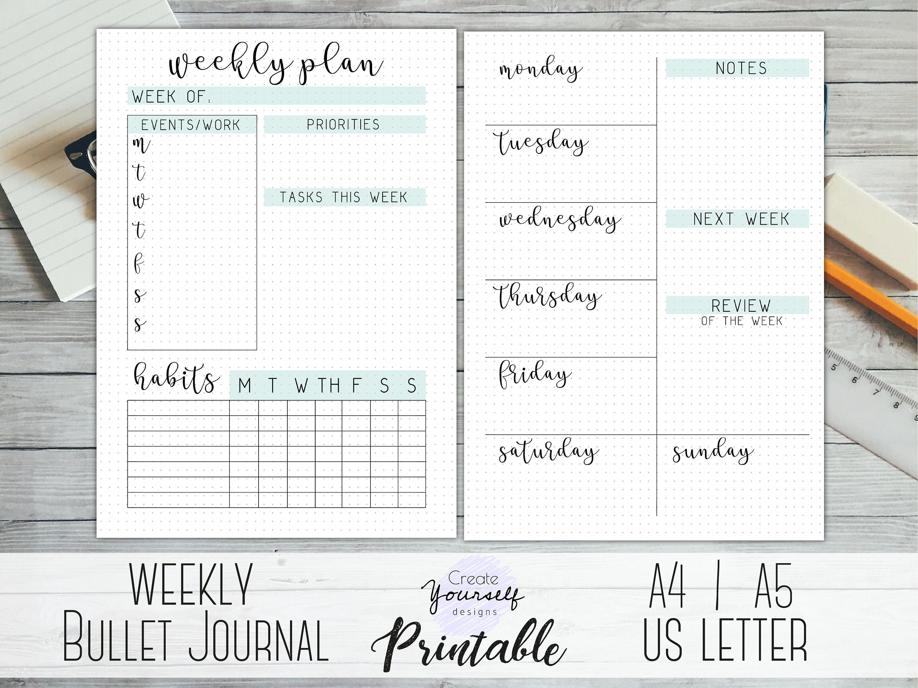 It's just an image of Crush Bullet Journal Weekly Spread Printable