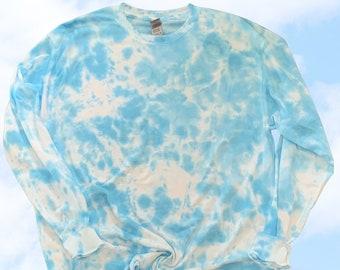 Blue Tie Dye Long Sleeve Shirt, Tie Dye TShirt, Tye Dye Shirt, Fall Shirt, Tie Dye Set, Lounge Set, Tie Dye Crewneck, Tie Dye Sweatshirt