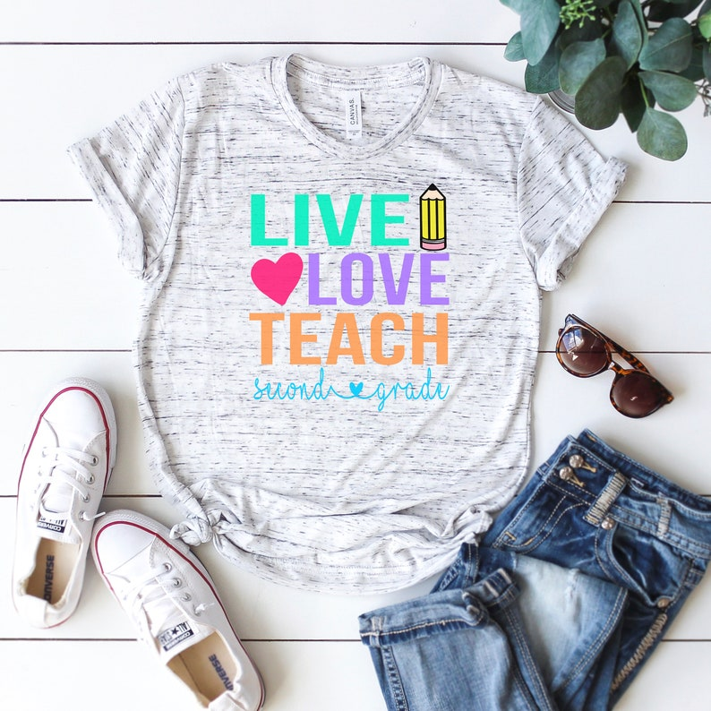 bb9bdde2 Live Love Teach 2nd Grade Shirt Teacher Shirt Back to School | Etsy