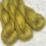 Bear Luxury Halo. Hand-dyed kid mohair and silk from South Africa. fingering weight. 50g/420m.  'Protista'