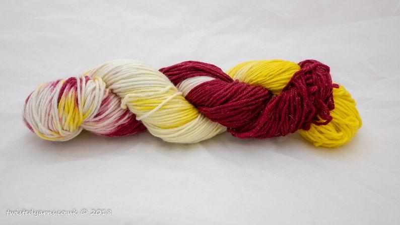 Luke/'s Lemon and Wine Hand Dyed Merino Sparkle DK Yarn