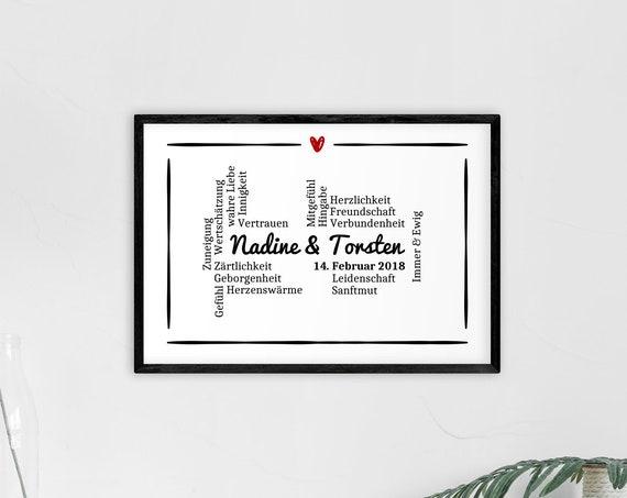 """Poster   Print   Kunstdruck """"True Love"""" (personalisiert)   DIN A4   Valentinstag, Hochzeit, Jahrestag, Geschenk"""