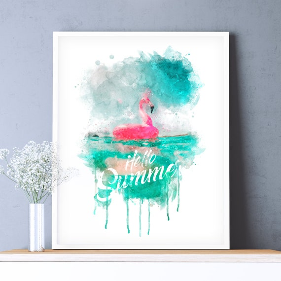 "Poster | Print | Kunstdruck ""Flamingo Summer"" | DIN A4"