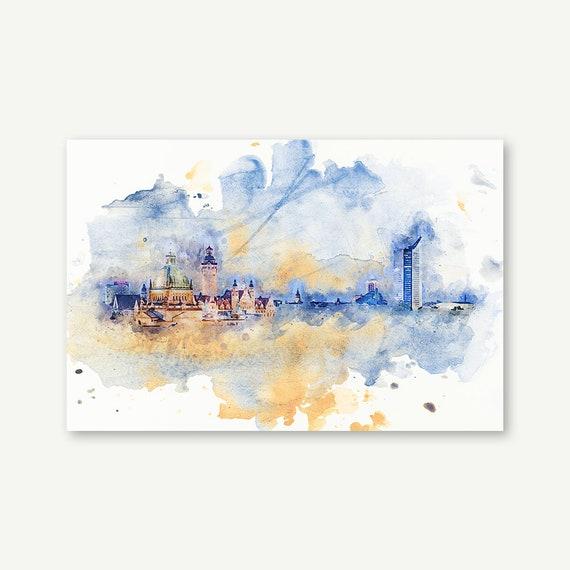 "Wandbild ""Watercolor Leipzig"" | Digital Art auf Leinwand, Acrylglas, Alu-Dibond"