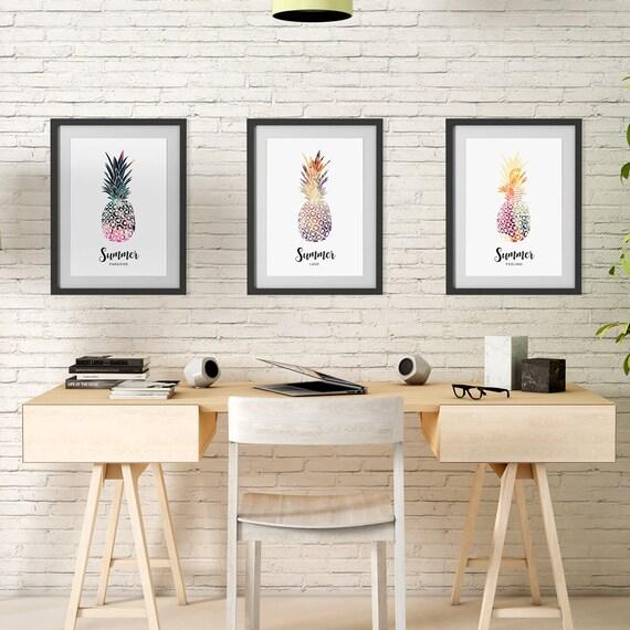 "Poster | Print | Kunstdruck ""Summer"" | Set mit 3 Motiven | DIN A4"