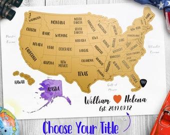 Large Us Map Etsy - Large-map-us