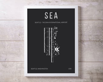 SEA Seattle Tacoma SEATAC Airport Print Map Wall Art