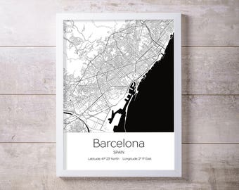Barcelona City Map Wall Art Prints