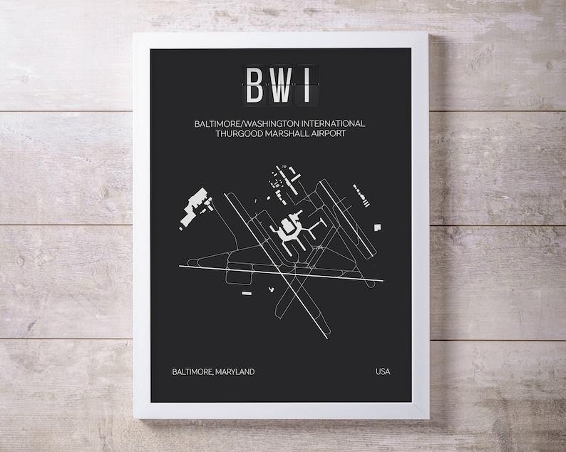 BWI Baltimore Washington International Airport Print Map Wall | Etsy