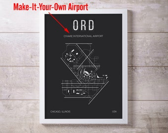 MAKE YOUR OWN Airport Print Map Wall Art