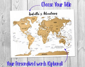 "Scratch-off Personalized Map - A World of Adventures! - Golden Scratch-off surface  -  Watercolor - Large size 17x23.5"" - Made in USA"