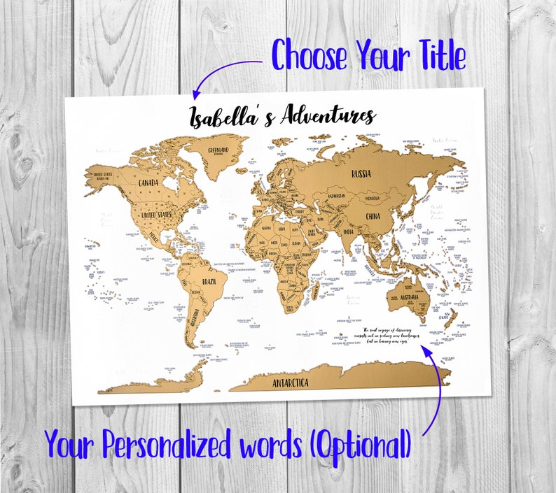 Scratch Off Make It Your Own World Map With Gold Etsy