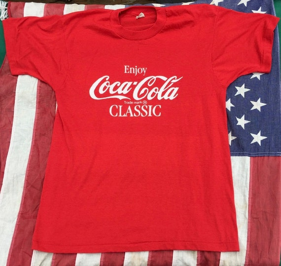 d1f8039cdcd Vintage Enjoy Coca Cola Classic T Shirt Coke Co Soda 80s