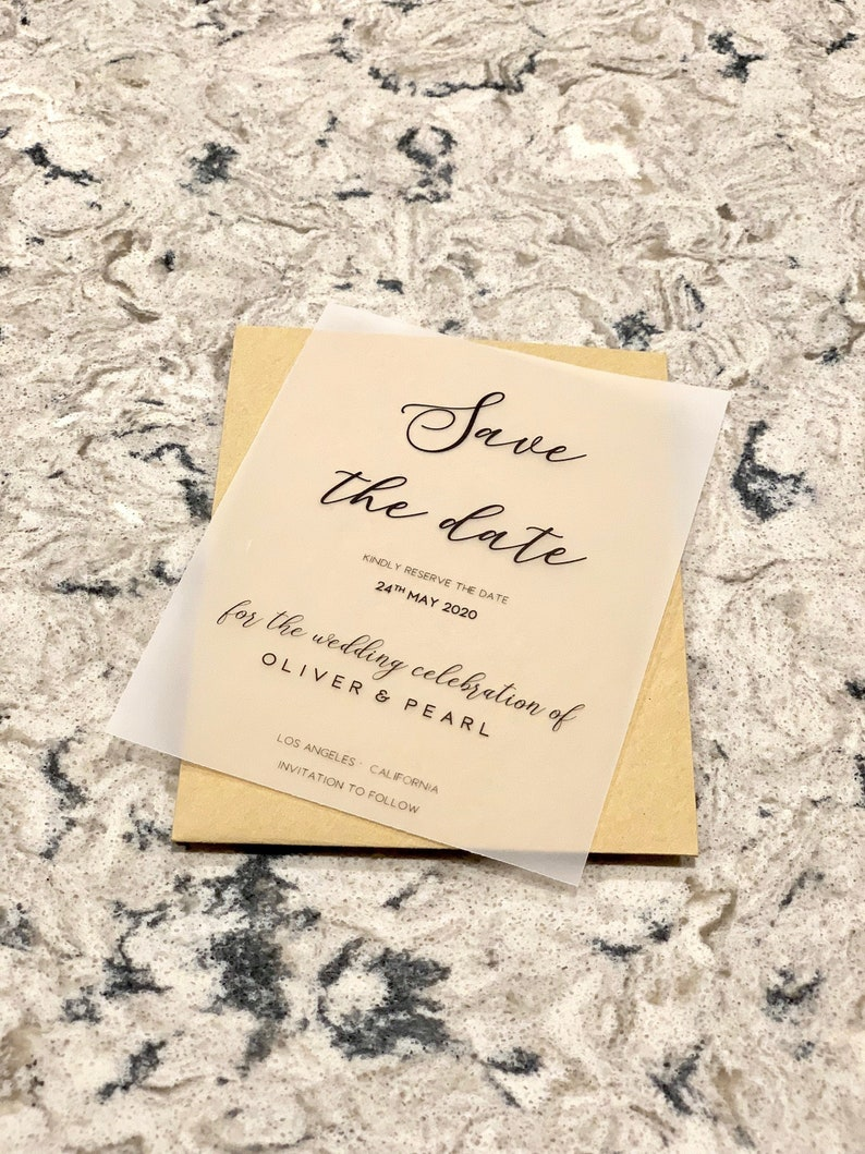 Vellum Wedding Invitation Save The Date Cards Transparent Paper Calligraphy Invite Event Invites