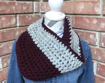 Crochet Maroon and Gray Cowl - Ready to Ship