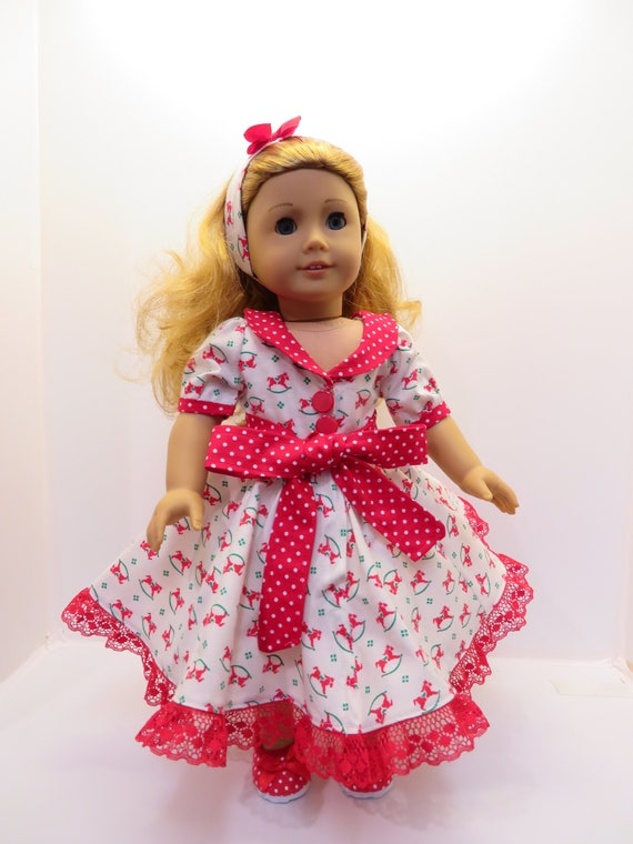 """RED /& WHITE Polka Dot TALL Lace-Up BOOTS SHOES fits 18/"""" AMERICAN GIRL DOLL"""