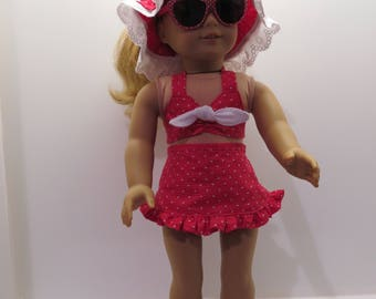 American Girl Doll Swimsuit in Red