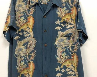 e3ecb6da vintage hawaiian button ups tiger avanti silk shirt mambo