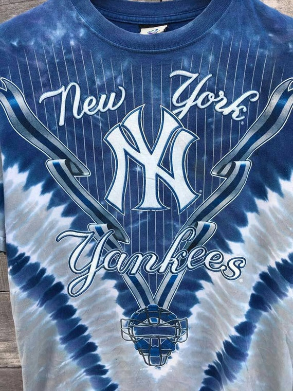 Vintage blue 90s yankees liquid short high fashion york new frxFf