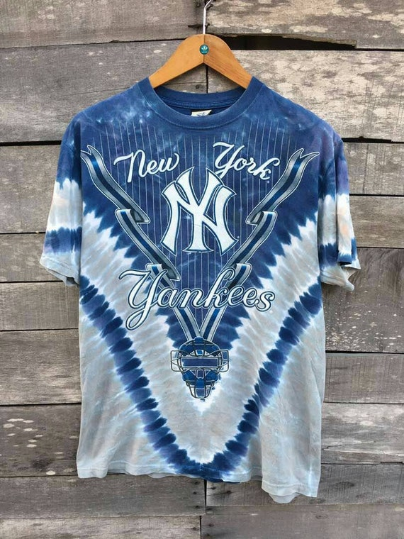 york high new fashion short blue liquid Vintage yankees 90s aB5qq