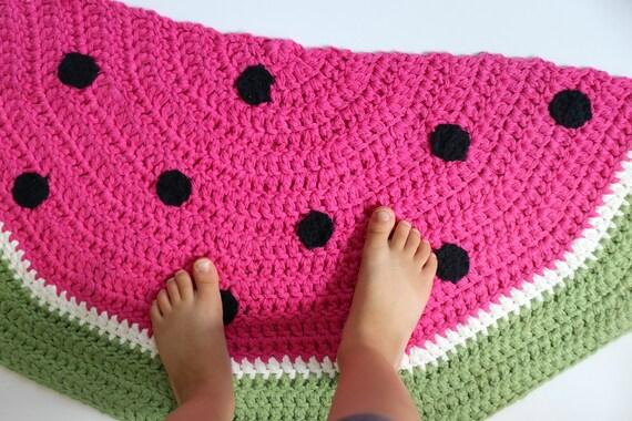Watermelon Rug Crochet Pattern Half Circle Rug Watermelon Etsy