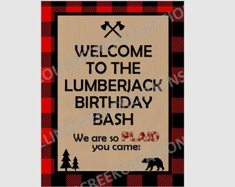 Printable Lumberjack Sign Lumberjack birthday decorations Buffalo Plaid Decorations Rustic Lumberjack Theme Buffalo Plaid Poster