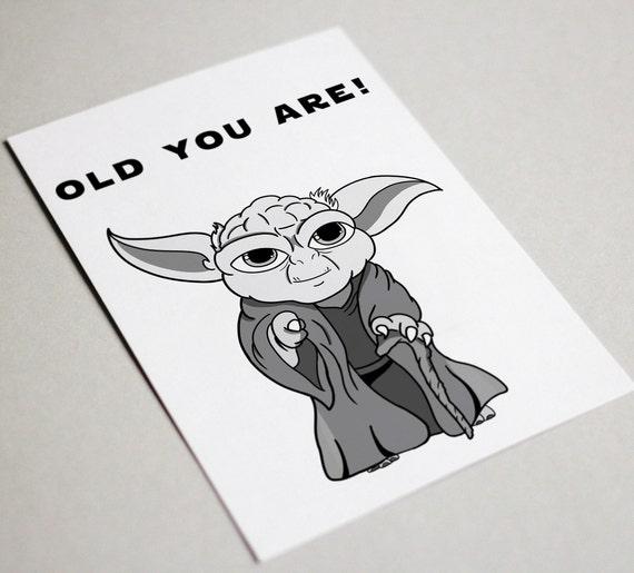 Yoda Birthday Card Yoda Card Star Wars Card Funny Starwars Etsy