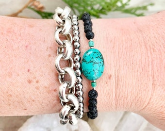 Turquoise gemstone diffuser bracelet, bracelet for essential oils, natural turquoise bracelet for her, bracelet for anxiety relief, healing