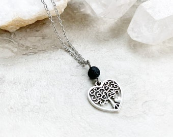 Tree of life diffuser necklace, tree of life pendant, heart tree of life charm, necklace for essential oils, gift for mom, gift for friend