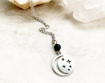 Moon and stars charm diffuser necklace, celestial jewelry, necklace for essential oils, moon and stars pendant, gift for bohemian girl