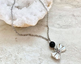 Diffuser necklace with bow charm, gift for her, gift for girl, necklace for girl, necklace for essential oils, essential oil accessory