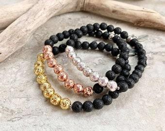 Diffuser bracelets for essential oils, rose gold bracelet, silver bracelet, yellow gold bracelet, diffuser bracelet for women, lava rock