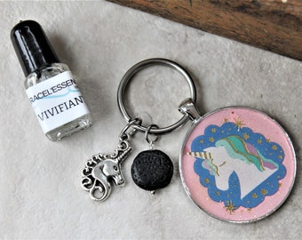 KEYCHAIN with UNICORN charm gift set, diffuser keychain, key ring, aromatherapy, unique gift, one of a kind gift, teacher gift, for her